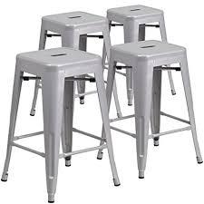 indoor outdoor counter height stool flash furnitur amazon com flash furniture 4 pk 24 high backless silver metal