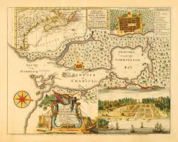 1750 map of halifax nova scotia canada w plan u0026 view i