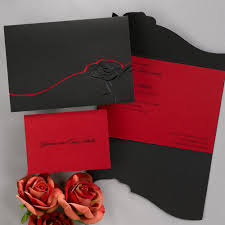 Embossed Invitation Cards Dramatic Rose Black And Red Invitation Invitations By Dawn