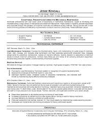 Resume Sample Of Mechanical Engineer Maintenance Resume Template Maintenance Resume Template Free We