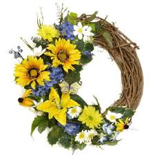 Sunflower Mesh Wreath Silk Wreaths Spring Wreaths Door Swags