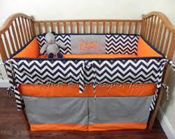 Orange Crib Bedding Custom Crib Bedding Set Alex Boy Crib Bedding Gray
