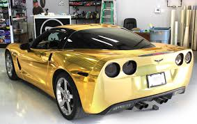 chrome wrapped cars gold chrome wrap corvette fort worth zilla wraps
