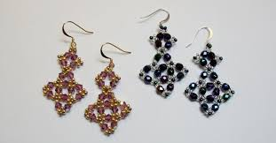 beginner earrings beginner bead weaving class juniper earrings