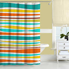 colorful shower curtain turquoise teal orange yellow