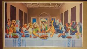 dogs last supper giant wide digital painting poster 42x zoom