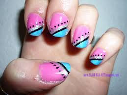 easy nail art bow and polka dot design on short nails nail art