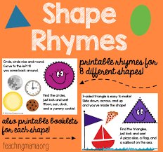 shape rhymes printables teaching mama
