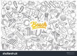 halloween beach background hand drawn beach doodle set background stock vector 606238376