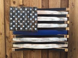 Reclaimed Wood Flag Thin Blue Line American Wine Barrel Flag Law Enforcement