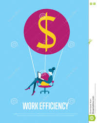 Office Chair Side View Vector Work Efficiency Banner Woman With Laptop Flying Stock Vector