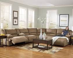 furniture u shape microfiber reclining sectional brown sofa set