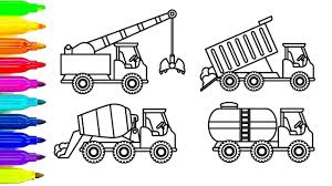 learn colors for kids with crane dump truck coloring pages