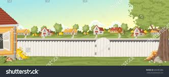 wood fence on backyard colorful house stock vector 606485486