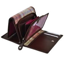 ladies compact tri fold leather purse wallet by mala abertweed