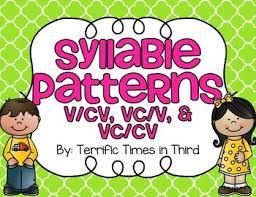 cv v vc syllable patterns v cv vc v and vc cv no prep worksheets