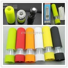 electric salt pepper mill grinder with light kitchen cooking abs electric pepper spice salt mill grinder muller