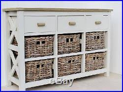 Painted Console Table 9 Drawer Basket Storage Unit Wooden Painted Console Table