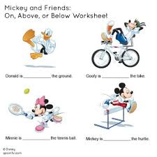 mickey and friends on above or below worksheet disney family