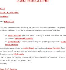 doc 529684 letter of dismissal template u2013 free termination