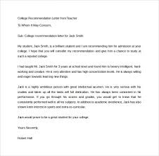 sample recommendation letter for college template designcollege