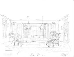 sketch room home design outstanding drawing dining room stock photo an