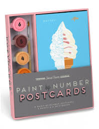 sweet treats paint by number postcards kit knock knock
