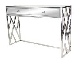 stainless steel console table orren ellis scorpio modern 2 drawer mirrored console table reviews