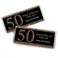 50th birthday favors 50th birthday gold candy bar wrappers birthday party