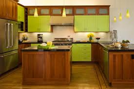 Painted Wooden Kitchen Cabinets Kitchen Fantastic Lime Green Kitchen Design Ideas With Green