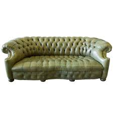 Olive Green Sofa by Olive Green Tufted Leather Chesterfield At 1stdibs