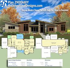 plan 290068iy angular modern house plan with huge rec room in