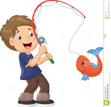 cartoon boy fishing stock vector image 45759031