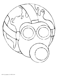 earth in a gas mask coloring page coloring pages of gas mask in