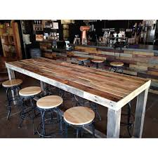 reclaimed wood pub table sets reclaimed wood bar counter community rustic custom kitchen coffee