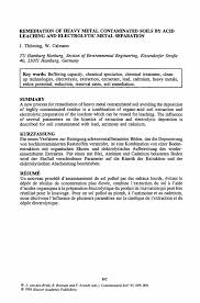 Summary Section Of Resume Remediation Of Heavy Metal Contaminated Soils By Acid Leaching And