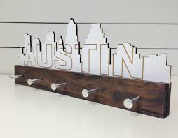 austin skyline key holder wall mounted modern wood pineconehome