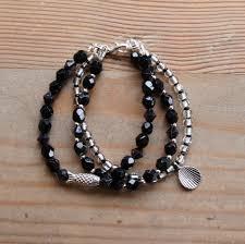 black bracelet charms images Black crystal bracelet charm bracelet handmade jewellery JPG
