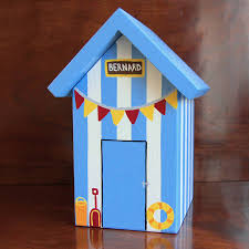Verditer Blue Personalised Beach Hut Keepsake Box By Lindleywood