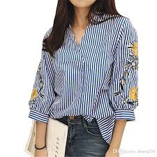 striped blouse 2018 style striped blouse v neck sleeve floral