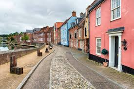 pretty houses cobbled streets and pretty houses overlooking the river yare stock