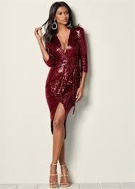 sequin dress sequin wrap dress in wine venus
