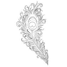 line peacock feather tattoo design