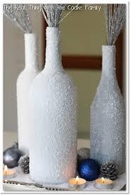 winter centerpiece from wine bottles and epsom salt centerpiece