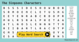 the simpsons characters word search