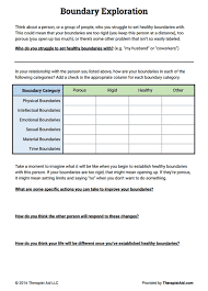 Mental Health Worksheets For Adults Boundaries Exploration Worksheet Therapist Aid