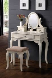 Vanity Mirror Dresser Gray Painted Room Wall With White Wooden Mirror Dressing Table On