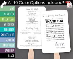 Fan Style Wedding Programs Thank You Message Wedding Program Fan Cool Colors