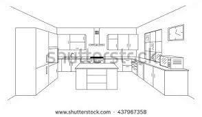 sketch modern kitchen plan island single stock vector 437967358