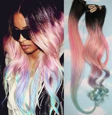 hair candy extensions light pastel dip dyed hair unicorn clip in hair extensions